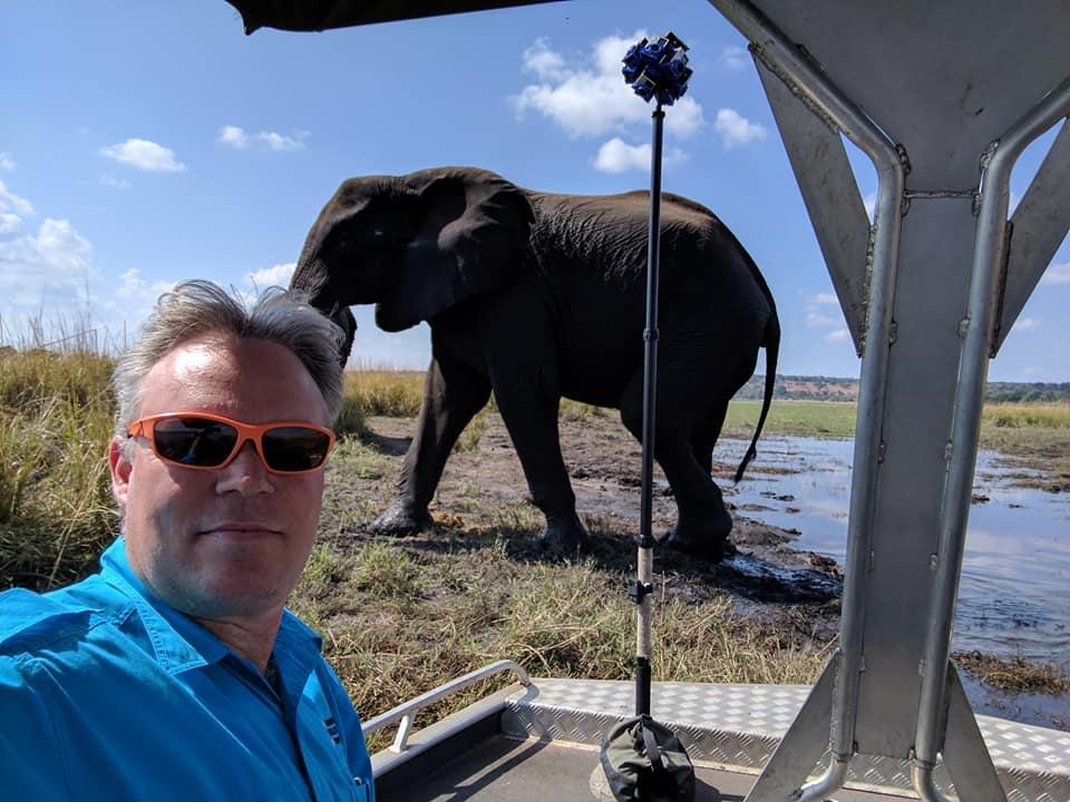 Chris du Plessis using SyncBac VR to film wildlife in Botswana